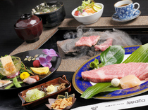 Ishiyaki & Wine Iwata_Set Meal [A] with Steak Grilled on a Stone Plate (8,400 JPY including all-you-can-drink) (tax excluded)