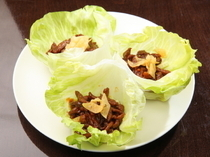 Chinese Restaurant Chanchan_Sweet Miso Sauteed & Shredded Beef, served wrapped in fresh lettuce leaves
