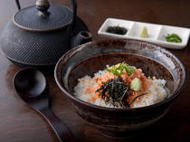 Ginza Takenoan Main Store_Rice with Green Tea and Special Soup Stock, poured from an exclusive Nambu Ironware teapot.