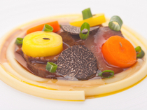 Shimalabo_Consomme sauce truffle of roasted aitchbone cut of Hiroshima beef  This dish is exquisite!