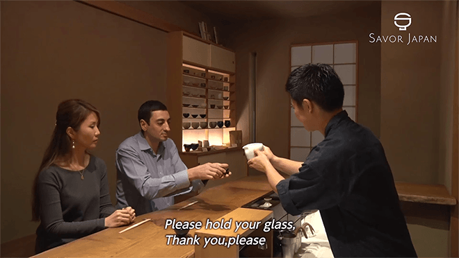 Manners and etiquettes on drinking Sake. Movie clips